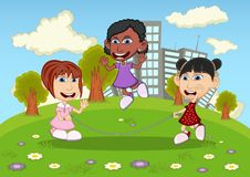 Girls playing jump rope on the park cartoon Royalty Free Stock Photography