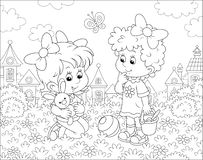Girls playing on a lawn on a summer day. Cute little children with a small toy rabbit among flowers on green grass against a background of colorful houses of a royalty free illustration