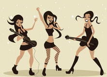 Girls playing music Stock Photo
