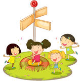 Girls playing near sign. Illustration of four girls dancing Royalty Free Stock Image