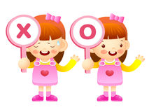 Girls are playing OX Quiz game. Education and life Character Des Stock Images