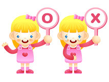 Girls are playing OX Quiz game. Education and life Character Des Royalty Free Stock Photo