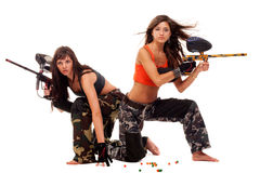 Girls playing paintball Royalty Free Stock Images