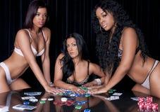 Girls playing poker Royalty Free Stock Photography