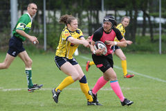Girls playing rugby Royalty Free Stock Images