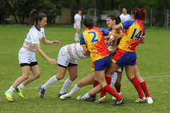 Girls playing rugby Royalty Free Stock Image