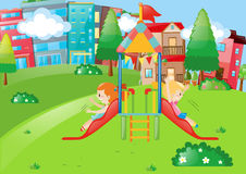 Girls playing on slide in neighborhood park. Illustration Stock Photos