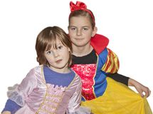 Girls playing snow white and princess. In costume Royalty Free Stock Images