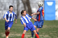 Girls playing soccer. Female soccer or football players pictured in action during the game between Fair-Play Bucharest and FCM Targu-Mures, Romanian Women First Royalty Free Stock Photos