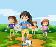 Free Girls Playing Soccker In The Park Stock Images - 69546364