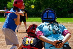 Girls playing softball. Sofia, Bulgaria, May 11, 2014, Athletic (Sofia) vs Angels (Dupnitsa) – official game from the Bulgarian softball championship. No Royalty Free Stock Images