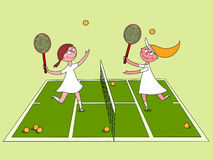 Girls playing tennis Royalty Free Stock Photography