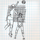 Girls playing volleyball sketch illustration Stock Photo