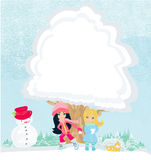 Girls are playing in a winter day. Illustration Royalty Free Stock Image