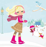 Girls playing in a winter day. Vector Illustration Stock Photography