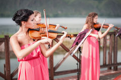 Girls plays violin Royalty Free Stock Image