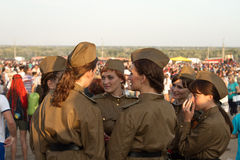 Girls policemen in soldiers uniform of the great P Stock Photo