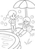 Girls by the Pool, Kid Coloring Page. Useful as coloring book for kids Royalty Free Stock Images