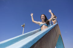 Girls Pool Slide Summer Royalty Free Stock Photography