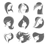 Girls portrait  - vector silhouette icon Stock Images