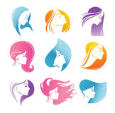 Girls portrait  - vector silhouette icons Stock Photography