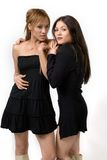 Girls Posing. Two  cute  and young girls in black dress posing  over white background Royalty Free Stock Images