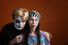 Girls posing for All Souls Day. Two young women with scary makeup for All Souls Day Royalty Free Stock Photography