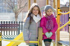 Girls posing at playground in spring day Royalty Free Stock Photography