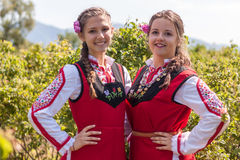 Girls posing during the Rose picking festival in Bulgaria Royalty Free Stock Photography