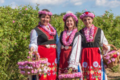 Girls posing during the Rose picking festival in Bulgaria Royalty Free Stock Images
