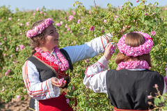 Girls posing during the Rose picking festival in Bulgaria Stock Photos