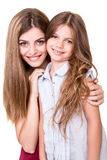 Girls posing to camera Royalty Free Stock Photography