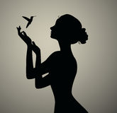 Girls positive silhouette Stock Photos