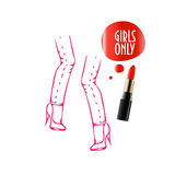 Girls Only Poster Template with dancing legs with jeans on and a. Hen Party Promotion template could be used as bachelorette party invitation, girls only sign Royalty Free Stock Images