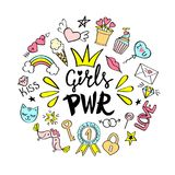 Girls Power lettering with girly doodles  for valentines day card design, girl`s t-shirt print, posters. Hand drawn fancy comic feminism slogan in cartoon Stock Images
