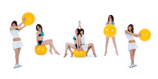 Girls practicing fitness Royalty Free Stock Images