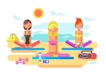 Girls practicing yoga Stock Photo