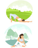 Girls practicing yoga Royalty Free Stock Images