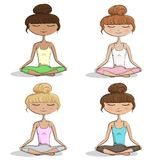 Girls Practicing Yoga - Vector Set eps10. Girl Practicing Yoga - Hand Drawn Vector Illustration Set eps10 Royalty Free Stock Photography