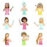 Girls Preening Up Using Masks And Creams vector illustration