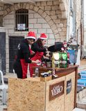 Girls prepare coffee at the finish for participants of the annua. Mi`ilya, Israel, December 22, 2017 : Girls prepare coffee at the finish for participants of the royalty free stock photo
