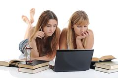Girls are preparing for the exam Stock Image