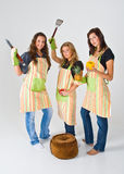 Girls preparing to cook Royalty Free Stock Image