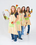 Girls preparing to grill Royalty Free Stock Image