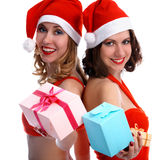 Girls with presents Royalty Free Stock Photo