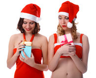 Girls with presents Stock Photo