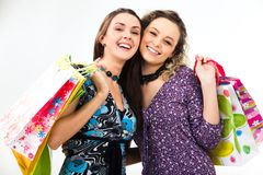 Girls with presents Stock Photography