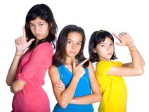 Girls pretending to be  action heroes Stock Photo