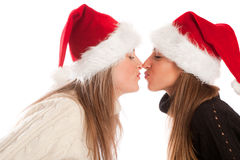 Girls pretending to kiss each other Stock Images