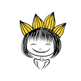 Girls princess with crown on head for your design. Vector illustration Royalty Free Stock Photography